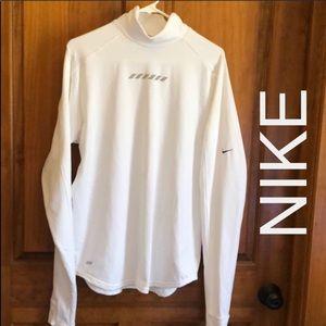 Nike White Crow Neck Compression Shirt Size Large